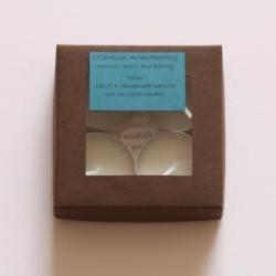 Natural wax tea light candles set of 4 in Relax, handmade by Olibanum Aromatherapy in the UK